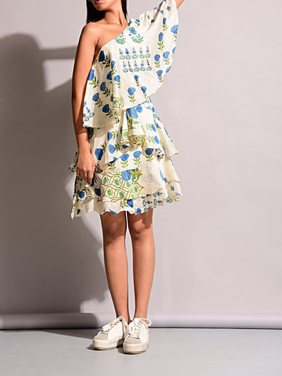 Off White Ruffled One Shoulder Dress