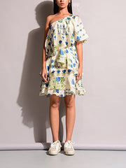 Dress, Western, One shoulder, Ruffles, Summer, Short dress, Crepe