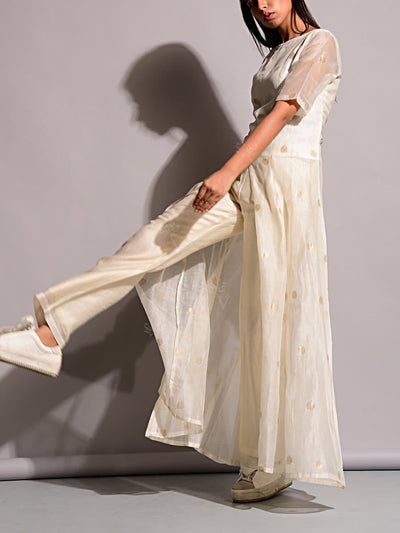Off White Handloom Suit Set