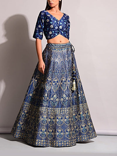 Blue Pearl Brush Lehenga Set