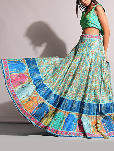 Blue Printed Lehenga Set