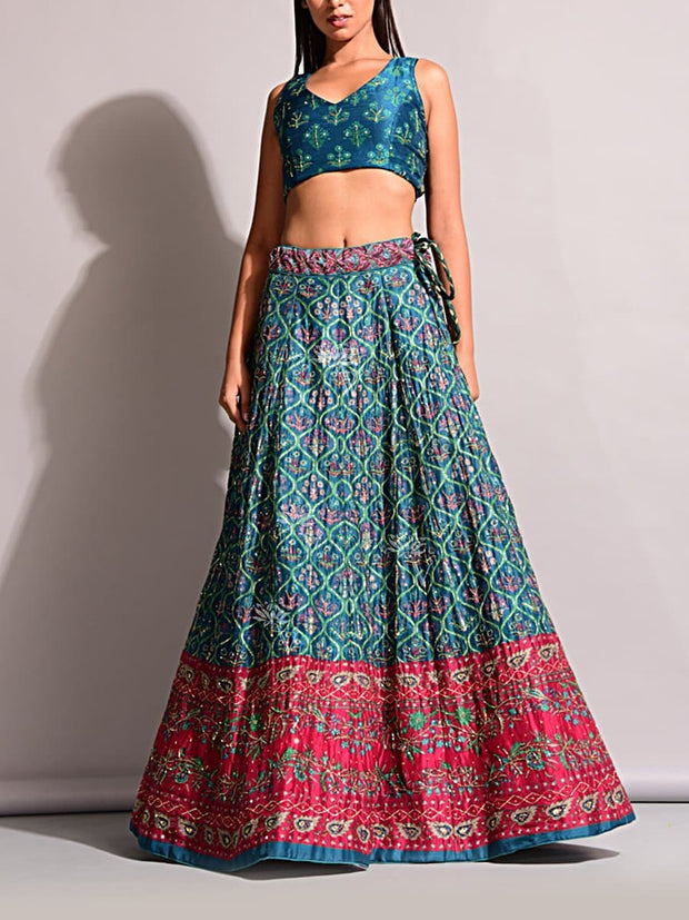 Green Silk Printed Lehenga Set