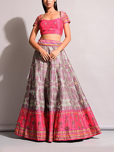 Grey Bandhani Printed Lehenga Set