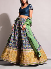 Green Vasansi Silk Printed Lehenga Set