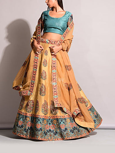 Yellow Vasansi Silk Printed Lehenga Set
