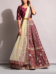 Wine Pearl Brush Lehenga Set