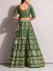 Green Pearl Brush Lehenga Set