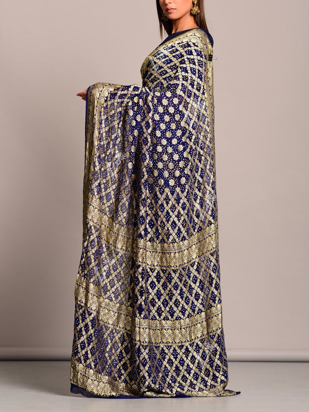 Deep Blue Georgette Ghat Chola Saree
