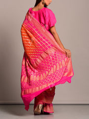 Pink And Orange Shaded Ghat Chola Saree