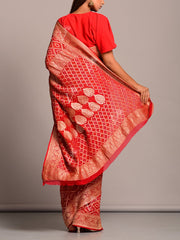 Red And Pink Shaded Ghat Chola Saree