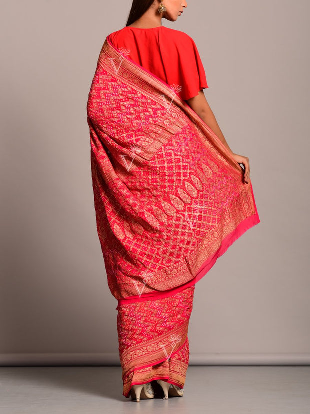 Red And Orange Shaded Gaht Chola Saree