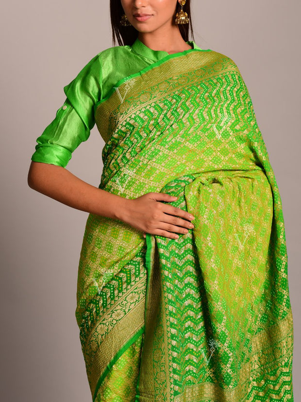 Lime Green Shaded Georgette Ghat Chola Saree