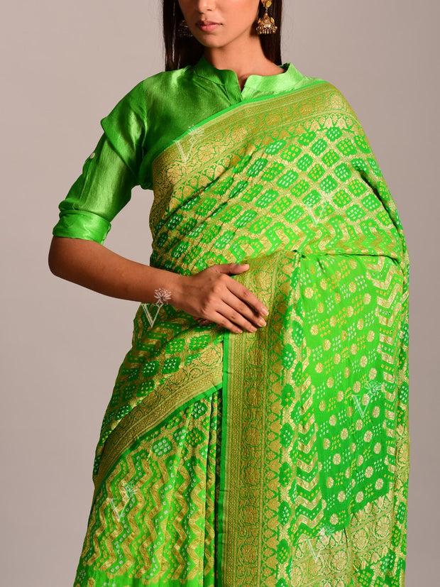 Green Georgette Ghat Chola Saree