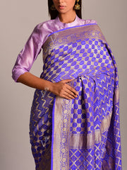 Blue Georgette Ghat Chola Saree