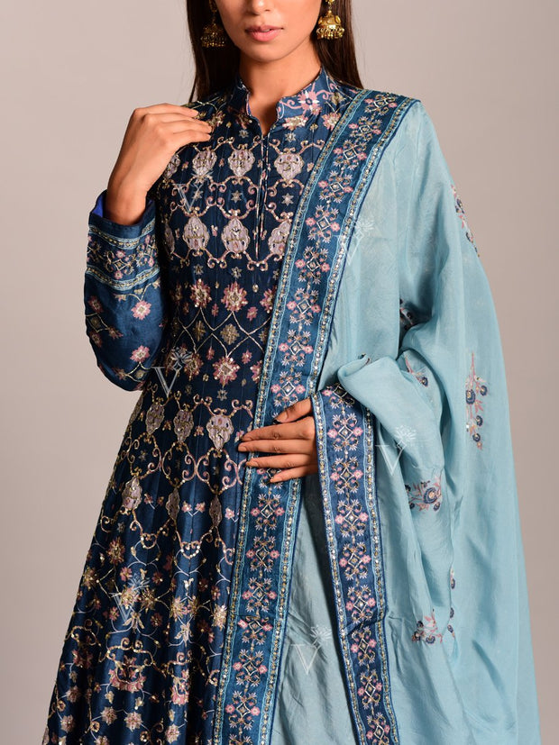 Pigeon Blue Silk Printed Anarkali Gown