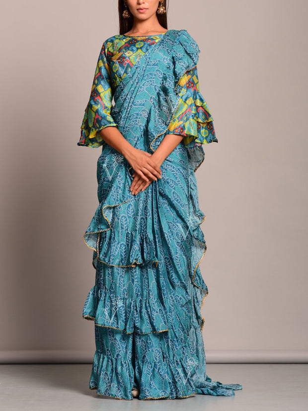 Light Blue Bandhani Printed Pre Draped Saree