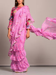 Light Pink Bandhani Printed Pre Draped Saree