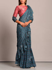 Teal Blue Printed Pre Draped Saree