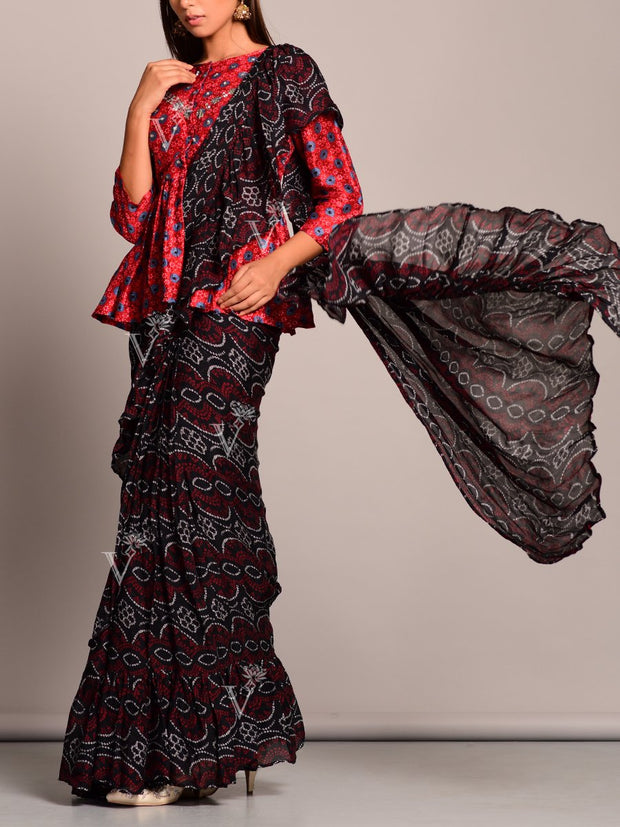 Black Bandhani Printed Pre Draped Saree