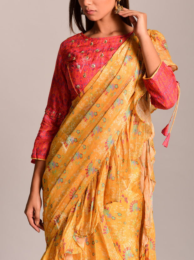 Yellow Silk Printed Pre Draped Saree