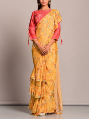 Saree, Sarees, Pre drape, Printed, Bandhani, Bandhej, Silk, Modern, Contemporary, Traditional wear, Traditional outfit