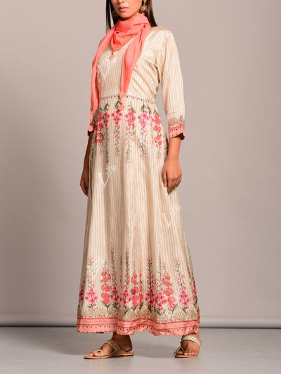 Creme Printed Silk Anarkali Gown