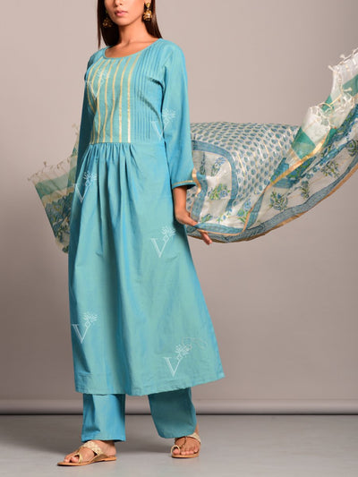 Turquoise Cotton Suit Set Online Only