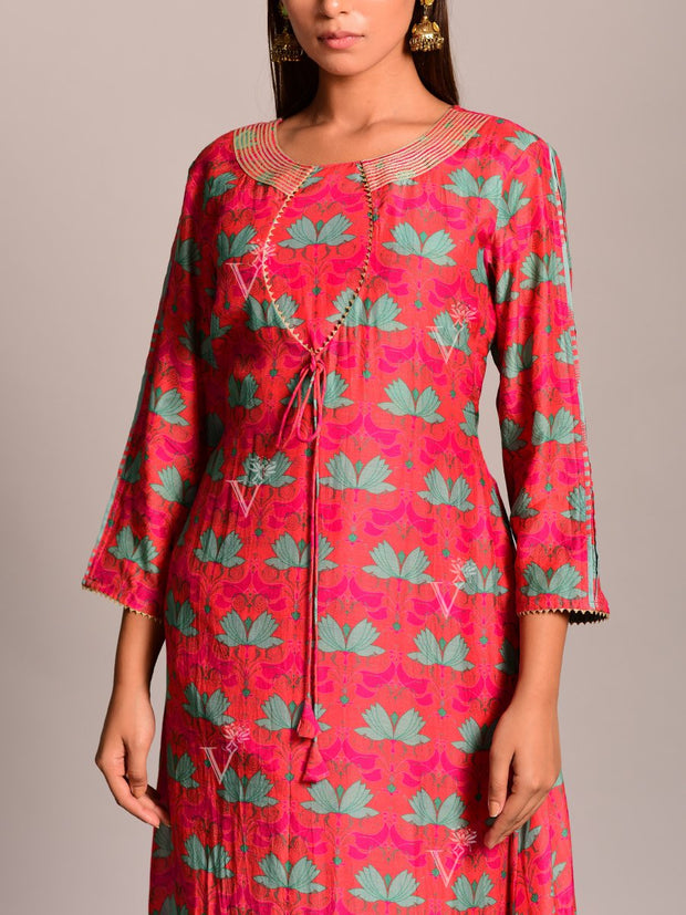 Coral Silk Asymmetric Kurta Set