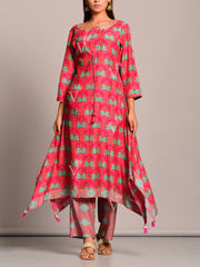 Kurti, Kurta, Kurtis, Asymmetric, Printed, Silk, Traditional wear, Traditional outfit, Traditional, Casual wear, Regular wear