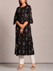 Black Cotton Weave Kurti