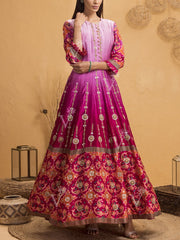 Handcrafted Pink Ombre Silk Patola Anarkali