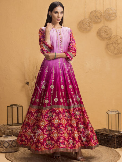 Anarkali, Anarkalis, Gown, Gowns, Ombre, Shaded, Party Wear, Traditional Wear, Patola, Silk, Handcrafted
