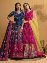 Blue And Pink Patola Lehenga With Rajputi Tunic