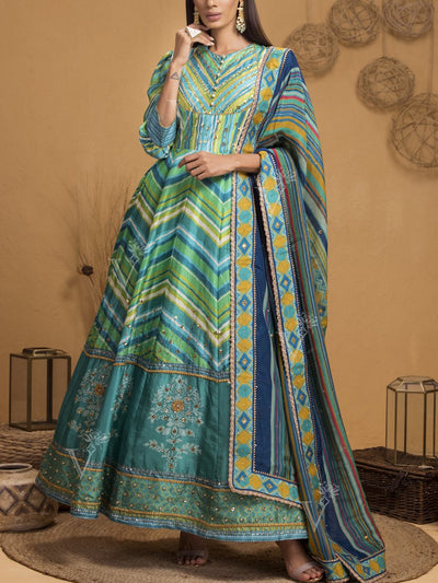 Green Vasansi Silk Signature Leheriya Anarkali Gown