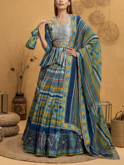 Green And Blue Vasansi Silk Signature Leheriya Lehenga With Peplum Top