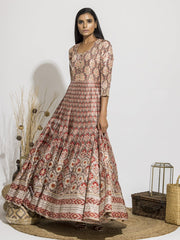 Old Rose Silk Printed Anarkali Gown