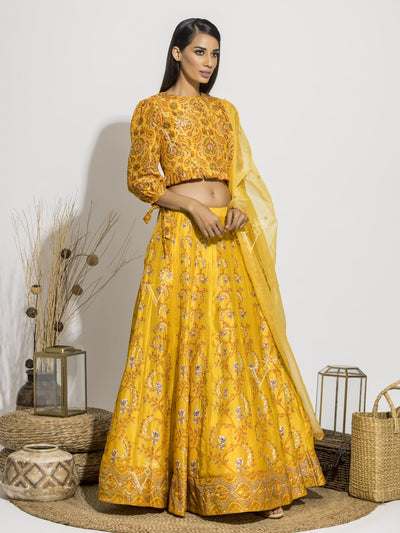 Lehenga, Lehengas, Navratri, Navratra, Traditional Outfit, Traditional Wear, Silk, Printed, Handcrafted, Pearl Brush, Printed
