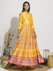 Yellow Silk Printed Anarkali Gown