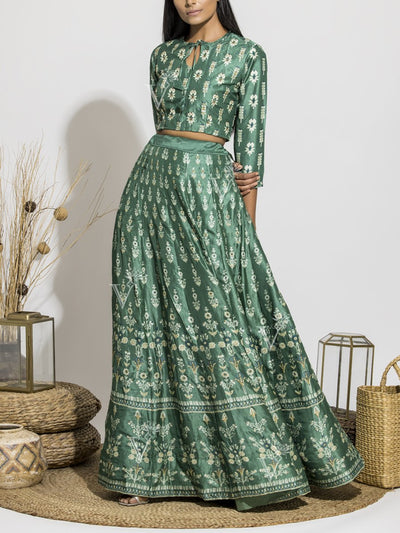 Jade Green Silk Printed Crop Set
