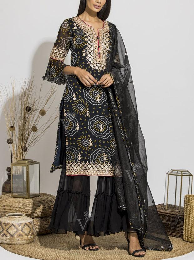 Black Bandhani Printed Gota Patti Sharara Set