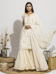 Handcrafted Off White Gota Patti Silk Sharara Set