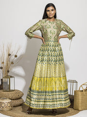 Grape Green Silk Printed Anarkali Gown