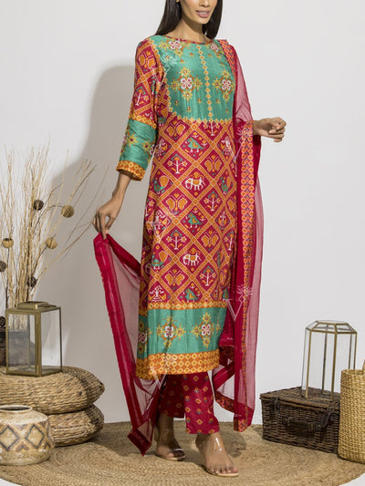 Maroon Silk Printed Patola Suit Set