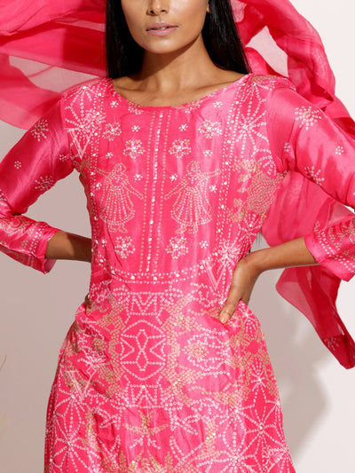 Coral Pink Silk Bandhani Suit Set