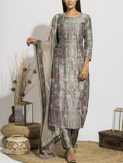 Slate Grey Silk Bandhani Suit Set