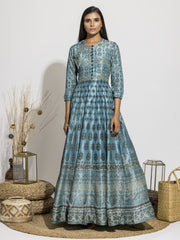 Frosty Blue Silk Printed Anarkali Gown