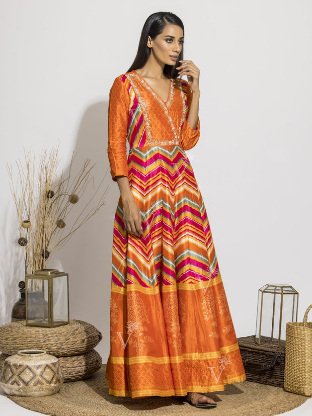 Orange Vasansi Signature Leheriya Printed Anarkali Gown