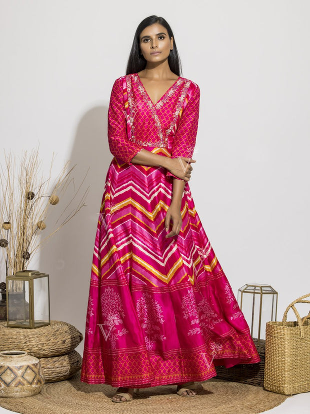 Anarkali, Anarkalis, Gown, Gowns, Party Wear, Traditional Wear, Silk, Printed, Floor Length, Leheriya, Rajasthani, Gota Patti, Hghlighted