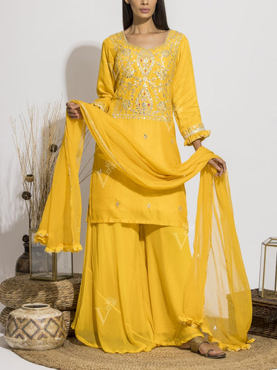 Sun Yellow Gota Patti Sharara Set
