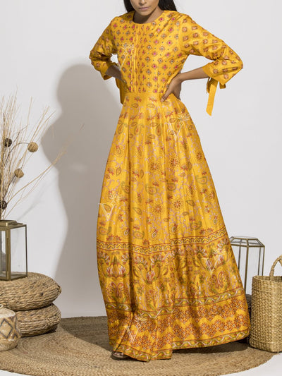 Mango Yellow Silk Printed Anarkali Gown